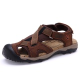 How Do I Get Men S Summer Fashion Genuine Leather Sandals Leisure Beach Slippers Brown Intl