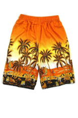 Mens Summer Leisure Coconut Tree Printing Beach Board Shorts With Drawstring Closure Average Size Orange - Intl By Stoneky.