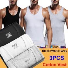 Retail Price Men S Summer Vest Cotton Underwaist Fitness Exercise Hurdle Gilet Sleeveless Garment 3Pcs White Grey Black Intl