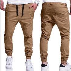Latest Mens Trousers Sweatpants Harem Pants Slacks Casual Jogger Dance Sportwear Baggy Beige Intl