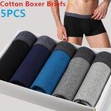 Mens Underware Cotton Boxer Briefs Middle Waisted Briefs Underwear Men Fitness Briefs 5Piece Lot Group E Intl Deal