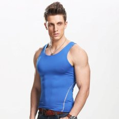 Sale Men S Vest Slimming Body Shaper Singlet Gym Athletic Tank Top Blue Intl No Brand Branded
