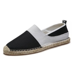 Men S Women S Canvas Casual Shoes Espadrille Slip On Loafers Weave Moccasins Black Intl For Sale