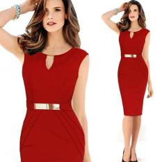 Top 10 Metal Buckle Small V Collar Collar Temperament Pencil Skirt Dress Intl