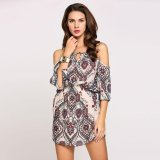 Brand New Mg 3 4 Sleeve Cold Shoulder Spaghetti Strap Print Casual Dress Pink White Intl