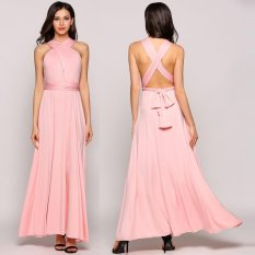 Sale Mg Multiway Sleeveless Solid Backless Bandage Evening Party Dress Pink Intl On China