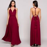 Deals For Mg Multiway Sleeveless Solid Backless Bandage Evening Party Dress Wine Red Intl