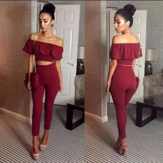 Wholesale Mg New Women Solid Off Shoulder Sleeveless Ruffled Top And Pants Womens Set Wine Red Intl
