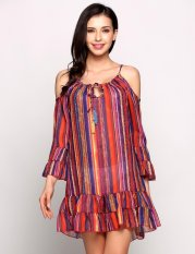 Coupon Mg Spaghetti Strap 3 4 Bell Sleeve Striped Cold Shoulder Ruffles Going Out Dress Pink White Intl