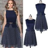 Sales Price Mg Vintage Boho Belted Polka Dot Chiffon Tunic Dress Blue Intl