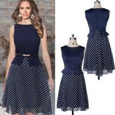 Price Compare Mg Vintage Boho Belted Polka Dot Chiffon Tunic Dress Blue Intl