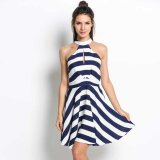 Best Rated Mg Women High Neck Off Shoulder Striped Hollow Out Pleated Swing Dress Intl