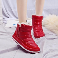 M General Fashion Women Waterproof Warm Pure Colour Fur Lining Short Snow Winter Ankle Boots Intl On Line