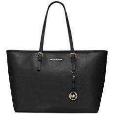 Compare Michael Kors Jet Set Travel Saffiano Leather Medium Tote Handbag Black 38F6Gtvt2L