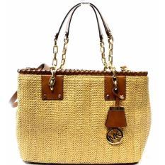 Shop For Michael Kors Rosalie Large Leather Trimmed Raffia Shoulder Bag Walnut
