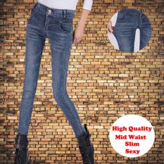 Price Mid Waist Stretch Women Jeans Slim Pencil Pant Feet Ladies Trousers Intl Oem Original