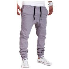 For Sale Military New Low Broadcloth Full Length Drawstring Cross Pants Men Casual Loose Mens Solid Leisure Sweatpants Joggers Grey Intl