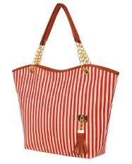 mingjue Fashion Stripe Single Shoulder Canvas Bag Women Handbag (Red White)