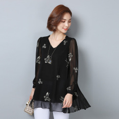 Who Sells Mm Autumn Plus Sized Floral Chiffon Shirt Cheap