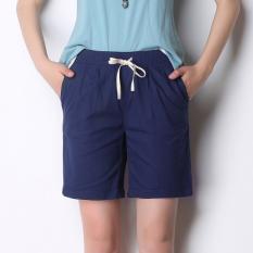 Sale Mm Cotton Linen Women Plus Sized Thin Linen Casual Shorts Sapphire Blue Online China