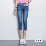Cheapest Mm Korean Style Female Elastic Waist To Increase Code Shorts High Waisted Capri Denim Pants Light Blue Online