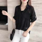 Best Mm Mid Length Plus Sized Short Sleeved Chiffon Shirt Black Send Strap