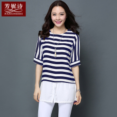 Discounted Women S Chiffon Plus Size Short Sleeve Top Black White Striped Blue White Striped Blue And White Stripe