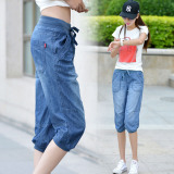 Sale Mm Summer Thin Plus Sized Wide Capri Pants Elastic Jeans Dark Blue Color China