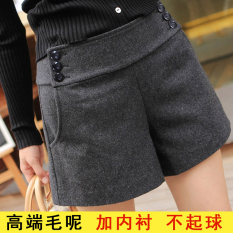 Discount Mm200 Woolen Skirt Female Outer Wear Shorts Flare Wide Leg Dark Gray Color Oem
