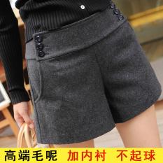 Best Deal Mm200 Woolen Skirt Female Outer Wear Shorts Flare Wide Leg Dark Gray Color