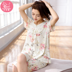 Modal Women S Summer Short Sleeved Pajama Women S Sleepwear Light Beige Oem Cheap On China