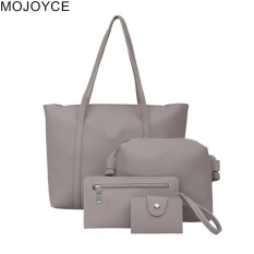 MOJOYCE 4pcs Women PU Leather Chic Handbag + Crossbody Bag + Clutch + Card Holder(Grey)