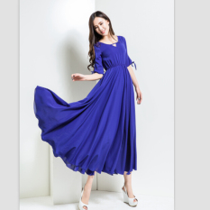 Get The Best Price For Moon Sunday Floral Print Women S Casual Fashion Bohemia Summer Elegant Chiffon Long Maxi Floor Length Dress For Holiday Beach Intl