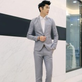 Sales Price Moonar Fashion Men Business Leisure Single Button Suit Two Piece Suits Groom Wedding Party Sets Grey Intl