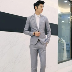 Where Can You Buy Moonar Fashion Men Business Leisure Single Button Suit Two Piece Suits Groom Wedding Party Sets Grey Intl