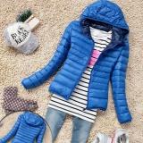 Best Deal Moonar Fashion Women Winter Zipper Hooded Warm Jacket Long Sleeve Thin Down Coat Blue Intl