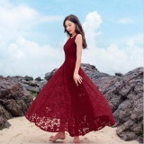 Best Deal Moonar Jvivi 2017 New Women Summer Dress Elegant Ladies Vintage Lace Sleeveless Long Beach Maxi Dress Sundress Vestidos Femininos Intl