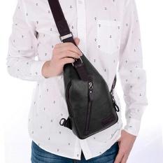 Moonar Korea Fashion Men PU Leather Chest Bag Zipper Shoulder Bag Sling Travel Hiking Pack (