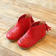 Price Comparisons Moonar New Fashion Breathable Hollow Flower Soft Baby G*Rl Summer Shoes Kids Children Princess Boots Red Intl