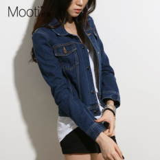 Who Sells Mooti Women S Style Leisure Plus Size Long Sleeve Cropped Denim Jacket Dark Blue Dark Blue
