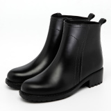 Sale Women S Casual Short Non Slip Ankle Rain Boots Black Matte
