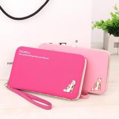 Multi-function Woman Long Wallet Mobile Phone Bag - Rose Red