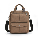 Best Reviews Of Men S Man Bag Multi Purpose Vertical Section Canvas Coffee Color