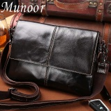 Compare Price Munoor 100 Genuine Cow Leather Messenger Bags Business Bags Men Laptop Travel Holder Intl Munoor On China