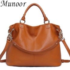 Munoor 100 Genuine Leather Women Tote Shoulder Bags Beg Kulit Tulen Tas Kulit Asli Tui Da Chinh Hang กระเป๋าหนังแท้ Brown Intl Best Price