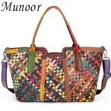 Compare Munoor High Quality 100 Genuine Cow Leather Women Top Handle Tote Bags
