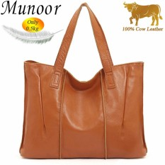 Munoor High Quality 100% Genuine Cow Leather Women Tote Bag Woman Top-Handle Bags - intl