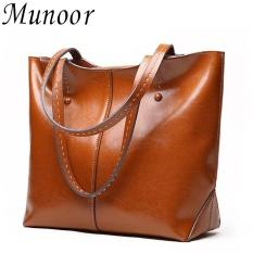 Munoor High Quality 100 Genuine Leather Women Tote Bags Beg Kulit Tulen Tas Kulit Asli Tui Da Chinh Hang กระเป๋าหนังแท้ Intl Review