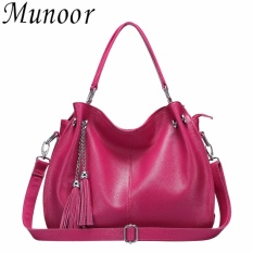 Compare Prices For Munoor High Quality Genuine Cow Leather Women Tote Bags Shoulder Travel Holder Intl