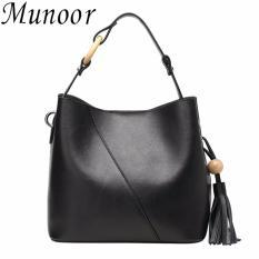 Sale Munoor Women Handbags Italian 100 Genuine Cow Leather Fashinable Shoulder Bags Crossbody Top Handle Holder Black Intl Munoor Online
